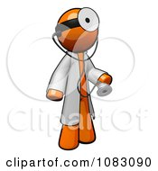 Clipart 3d Orange Man Doctor With A Stethoscope Wearing A Jacket And Head Mirror Royalty Free CGI Illustration