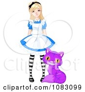Clipart Pretty Girl Alice With A Purple Cheshire Cat Royalty Free Vector Illustration