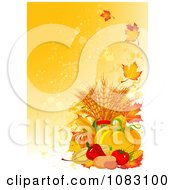 Clipart Grungy Autumn Background With Harvest Veggies Royalty Free Vector Illustration