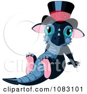 Clipart New Year Dragon Sitting With A Hat On Royalty Free Vector Illustration by Pushkin