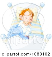 Clipart Boy Sleeping In Bed With A Stuffed Animal Royalty Free Vector Illustration