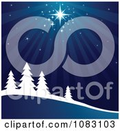 Clipart Bright Star Shining Down On A Winter Wonderland Royalty Free Vector Illustration by Pushkin