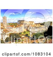 Clipart Sketch Of The Colosseum And Roman Forum During The Day Royalty Free Illustration by MacX