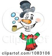 Christmas Snowman Face Smoking A Pipe