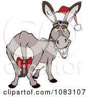 Clipart Christmas Donkey Wearing A Santa Hat And Bow Royalty Free Vector Illustration by Dennis Holmes Designs