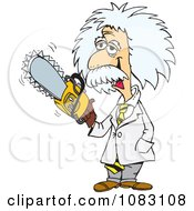 Clipart Einstein Holding A Saw Royalty Free Vector Illustration