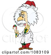 Clipart Einstein Holding A Christmas Candy Cane Royalty Free Vector Illustration by Dennis Holmes Designs