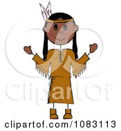 Clipart Thanksgiving Stick Native American Woman Royalty Free Vector Illustration