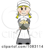 Thanksgiving Stick Pilgrim Girl Holding Mashed Potatoes