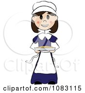 Clipart Thanksgiving Stick Pilgrim Girl Holding A Pie Royalty Free Vector Illustration