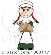 Clipart Thanksgiving Irish Stick Pilgrim Girl Holding A Turkey Royalty Free Vector Illustration by Pams Clipart