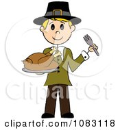 Clipart Thanksgiving Blond Stick Pilgrim Man Holding A Turkey Royalty Free Vector Illustration by Pams Clipart