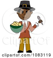 Clipart Thanksgiving Native Stick Pilgrim Man Holding Mashed Potatoes Royalty Free Vector Illustration