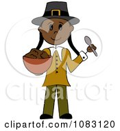 Clipart Thanksgiving Native Stick Pilgrim Woman Holding Stuffing Royalty Free Vector Illustration