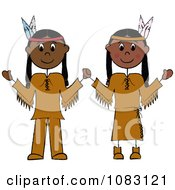 Clipart Thanksgiving Stick Native American Couple Royalty Free Vector Illustration