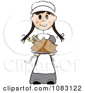 Clipart Thanksgiving Stick Pilgrim Girl Holding A Turkey Royalty Free Vector Illustration by Pams Clipart