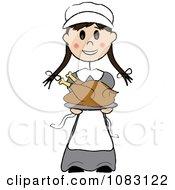 Thanksgiving Stick Pilgrim Girl Holding A Turkey