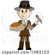 Clipart Thanksgiving Stick Pilgrim Man Holding A Turkey Royalty Free Vector Illustration by Pams Clipart