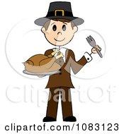Thanksgiving Stick Pilgrim Man Holding A Turkey