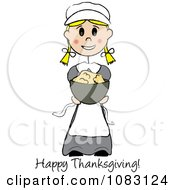 Clipart Happy Thanksgiving Stick Pilgrim Girl Holding Mashed Potatoes Royalty Free Vector Illustration by Pams Clipart