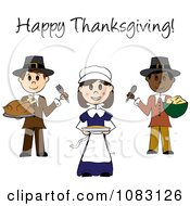 Clipart Happy Thanksgiving Stick Pilgrims With Food Royalty Free Vector Illustration by Pams Clipart
