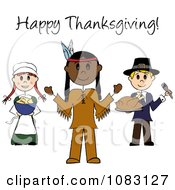 Clipart Happy Thanksgiving Stick Pilgrims And Native American Royalty Free Vector Illustration by Pams Clipart