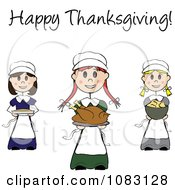 Clipart Happy Thanksgiving Stick Pilgrim Girls With Food Royalty Free Vector Illustration by Pams Clipart