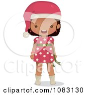 Clipart Cute Black Christmas Girl Royalty Free Vector Illustration by Melisende Vector