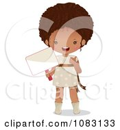 Clipart Cute Black Girl Holding A Sign Royalty Free Vector Illustration
