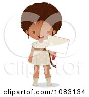 Clipart Cute Black Girl Holding A Blank Sign Royalty Free Vector Illustration