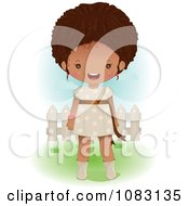 Clipart Cute Black Girl Standing In A Yard Royalty Free Vector Illustration