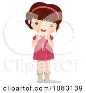 Clipart Cute Brunette Girl Holding Two Thumbs Up Royalty Free Vector Illustration