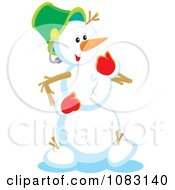 Clipart Happy Snowman With Red Mittens Royalty Free Vector Illustration