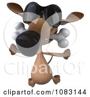 Clipart 3d Wiener Dog Wearing Sunglasses And Biting A Bone 3 Royalty Free CGI Illustration