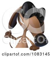 Clipart 3d Dachshund Dog Wearing Sunglasses With A Sign 1 Royalty Free CGI Illustration