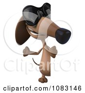 Clipart 3d Dachshund Dog Wearing Sunglasses With A Sign 2 Royalty Free CGI Illustration