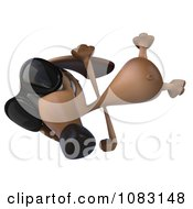 Clipart 3d Cartwheeling Dachshund Dog Wearing Sunglasses Royalty Free CGI Illustration