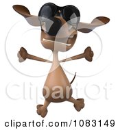 Clipart 3d Jumping Dachshund Dog Wearing Sunglasses Royalty Free CGI Illustration