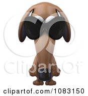 Clipart 3d Pouting Dachshund Dog Wearing Sunglasses 1 Royalty Free CGI Illustration