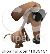 Clipart 3d Pouting Dachshund Dog Wearing Sunglasses 2 Royalty Free CGI Illustration