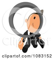 Clipart Business Toon Guy Peering Through A Magnifying Glass 1 Royalty Free Illustration