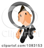 Clipart Business Toon Guy Peering Through A Magnifying Glass 2 Royalty Free Illustration