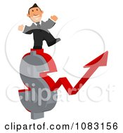 Clipart Business Toon Guy With A Dollar Symbol Arrow Chart 2 Royalty Free Illustration
