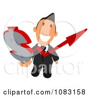 Clipart Business Toon Guy With A Dollar Symbol Arrow Chart 1 Royalty Free Illustration