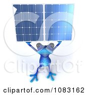 3d Blue Springer Frog Holding A Solar Energy Panel 3