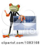 Clipart 3d Business Springer Frog Holding A Solar Panel 4 Royalty Free CGI Illustration