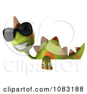 Clipart 3d Spotted Dino Wearing Sunglasses With A Sign 2 Royalty Free CGI Illustration