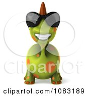 Clipart 3d Spotted Dino Wearing Sunglasses And Facing Front Royalty Free CGI Illustration