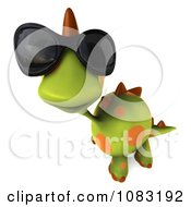 Clipart 3d Spotted Dino Wearing Sunglasses And Looking Up Royalty Free CGI Illustration