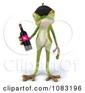 Clipart 3d French Springer Frog Holding Wine 1 Royalty Free CGI Illustration